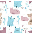 seamless pattern cute cat with hand drawn cartoon vector image