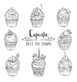 Set decorative hand drawn cupcakes