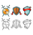 set historical shields with ribbons and swords vector image vector image