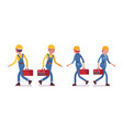 set of male and female worker walking rear front vector image vector image