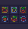 set of neon icons with fruits vector image