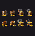 set old pirate chests full of treasures gold vector image vector image