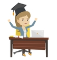 Student using laptop for education vector image vector image