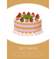 tasty cake with sweet liquid glaze between corns vector image vector image