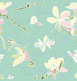 turquoise floral pattern with lily vector image