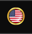 united states of america flag golden button vector image