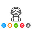 user support line icon female profile sign vector image
