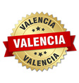 Valencia round golden badge with red ribbon vector image vector image