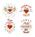 valentines day four typographic labels vector image vector image