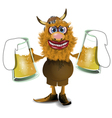 viking with beer vector image vector image
