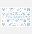 vr games outline horizontal vector image