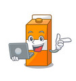 with laptop package juice character cartoon vector image
