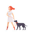 young woman keeping her purebred dog on the leash vector image vector image