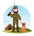 Cartoon hunter with rifle and hunting dog vector image