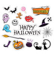 set of cartoon graphic design halloween icons vector image