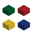 building bricks in 3d isolated set vector image