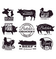butcher emblems butchery shop labels with animals vector image