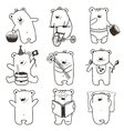 Cartoon Baby Bears in Action Collection vector image vector image
