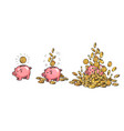 cartoon piggy bank and gold coins set piggy vector image vector image