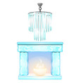 chandelier and fireplace with flame of ice vector image vector image