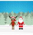 Christmas reindeer and Santa Claus vector image vector image