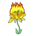 comic cartoon burning flower vector image vector image