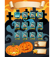 Computer game template with halloween theme vector image