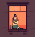 couple in window romantic woman and man neck vector image vector image