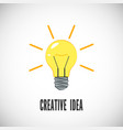 creative idea light bulb with rays shine business vector image