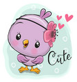cute chick on a blue background vector image vector image