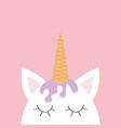 cute unicorn head face ice cream hair wafer cone vector image vector image