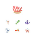 flat icon sea set of algae tentacle cancer and vector image vector image