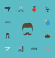 flat icons deodorant perfume hairbrush and other vector image vector image