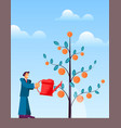 flat man in suit with large red watering vector image vector image