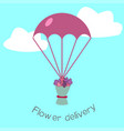 flowers delivery flat stile concepte vector image vector image