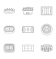 Game at stadium icons set outline style vector image vector image