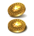 Gold coin with yen sign vector image vector image
