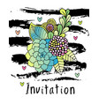 hand drawn hipster flower invitation card cover vector image vector image