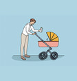 happy fatherhood and communication with baby vector image