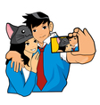 Love Love Couple Take A Picture Together vector image