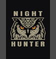 night hunter owl head t-shirt print design on a vector image