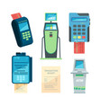 payment machines checkout terminal money nfc vector image