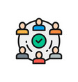 people team in project flat color line icon vector image