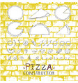 pizza setcollection on a yellow stone background vector image