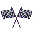 racing flags crossed symbol blue lines vector image