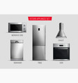 realistic kitchen appliances transparent set vector image vector image