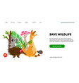 save wildlife landing page vector image