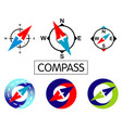 set icons compass isolated on white background vector image