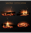 set of four images burning fire firewood coals vector image