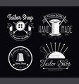 sewing tools tailor shop isolated icons tailoring vector image vector image